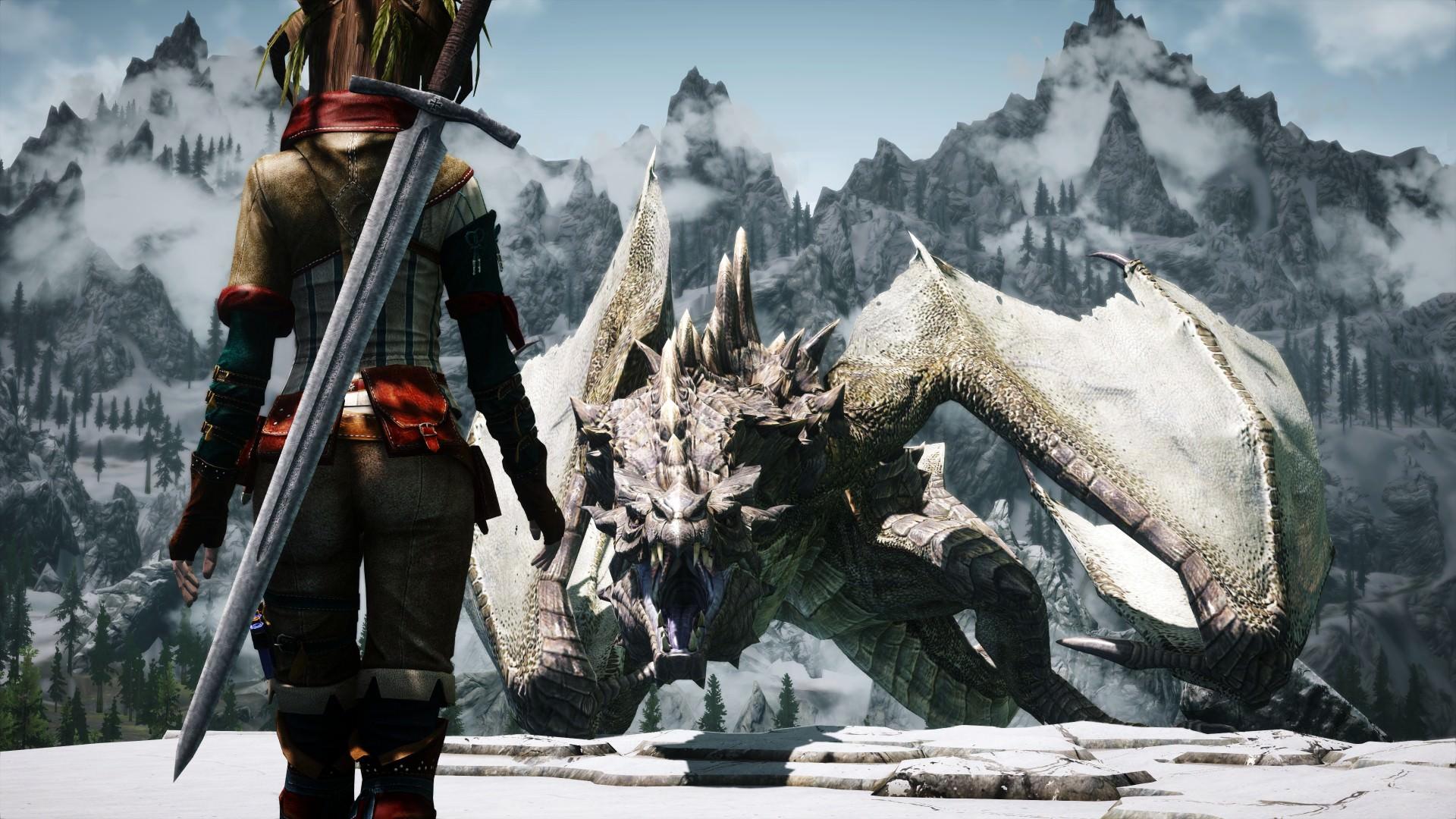 skyrim-warrior-girl-vs-dragon-wallpaper
